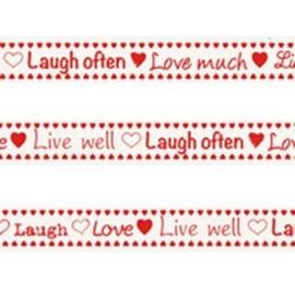 Tekst ribbon Laugh, love, live well