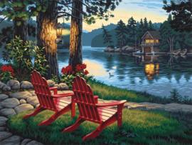 stoelen bij water 40 x 50  DL 4050/118 ronde steentjes