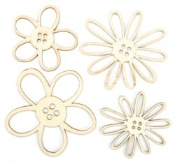 Wood Flourishes 4/Pkg button blooms