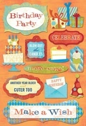 "Birthday Cardstock Stickers 5.5""X9"