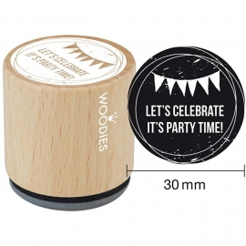 Woodies Mounted Rubber Stamp Let's celebrate it's party time