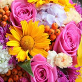 bloemen - 25x25cm - ronde steentjes NIEUW!!!! A301