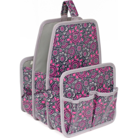 "Everything Mary Makers Large Deluxe Caddy 12.5""X8.5""X8.5"" Gray & Pink Print W/Gray Trim 10488-1"