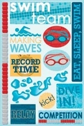 "Swim Team Cardstock Stickers 5.5""X9"