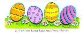Northwoods stempel Four eastereggs and flower border N7945
