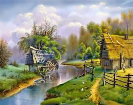 Huis bij het water- 25 x 25 cm- ronde steentjes NIEUW!! A423