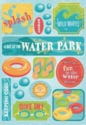 "Water park Cardstock Stickers 5.5""X9"