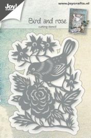 snijstencil vogel met roos 6002/0765