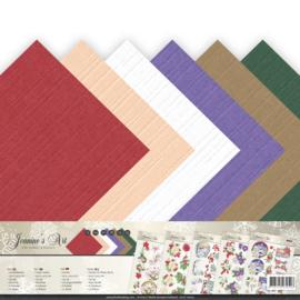 A-6 papierset linnen structuur Christmas Classics JA-A6-10002