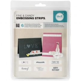 "We R Phrase Strips Embossing Folders 6""X2"" 6/Pkg Dear Lizzy Fine & Dandy WR662600"