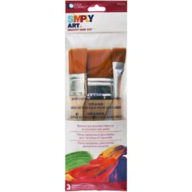 """Simply Art large nylon flat  brush 3/4"""",1"""",&2""""      Not. 1024271"""