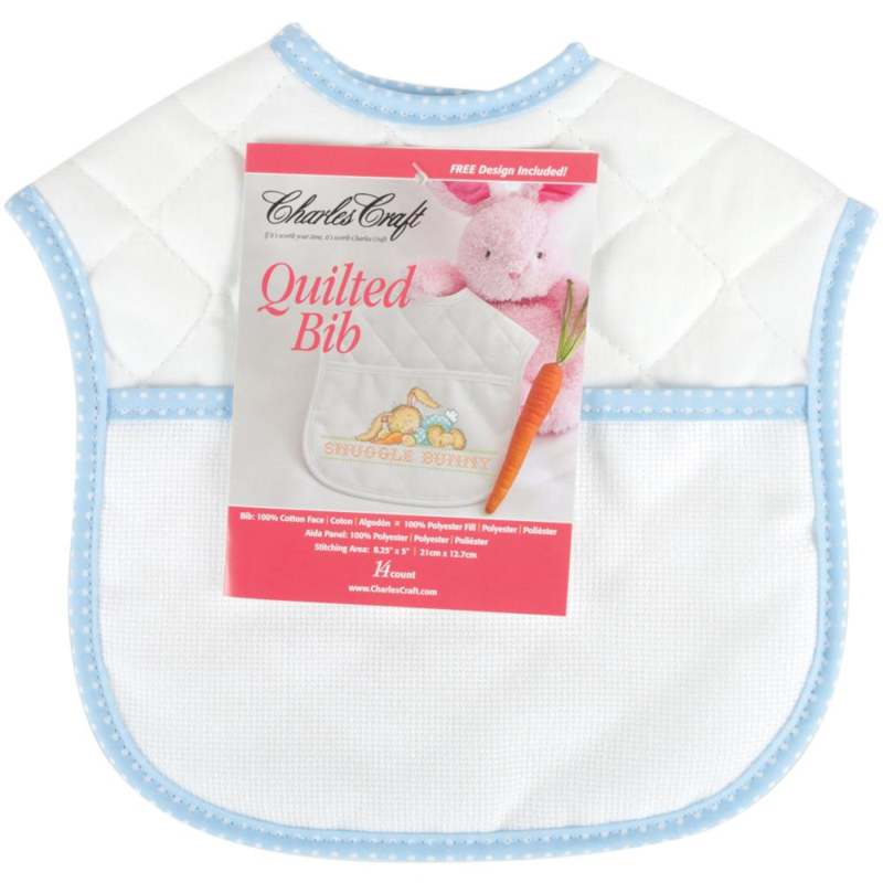 "Quilted Baby Bib 14 Count 9""X9"" blauw/wit slabbetje incl patroon snuggle bunny"