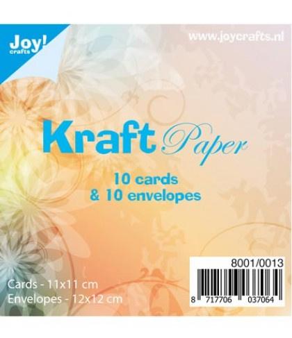 kraft papier 10 cards (11x11cm) & 10 envelopes (12x12cm)  8001/0013