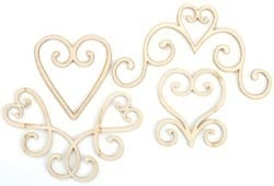 Wood Flourishes 4/Pkg hearts
