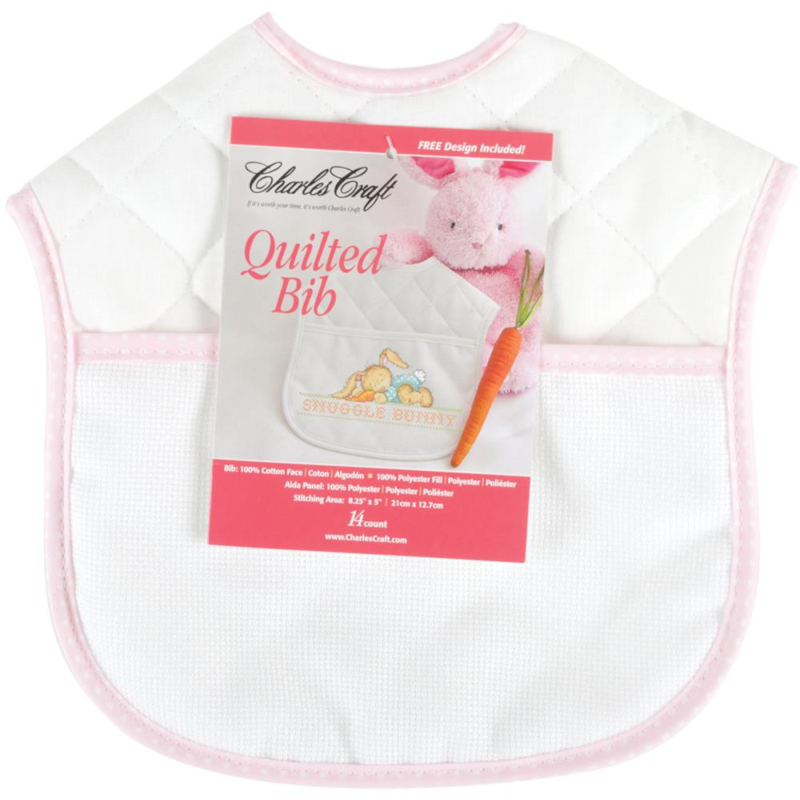 """Quilted Baby Bib 14 Count 9""""X9"""" rose/wit slabbetje incl patroon snuggle bunny"""
