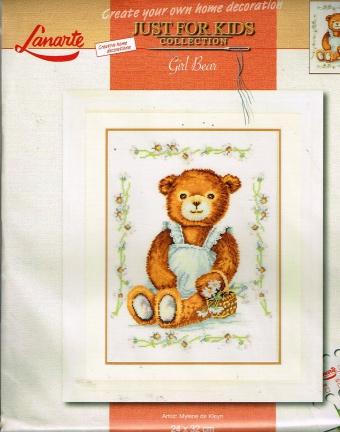 lanarte just for kids cross stitch  borduurpakket Boy Bear 24x32cm 15590