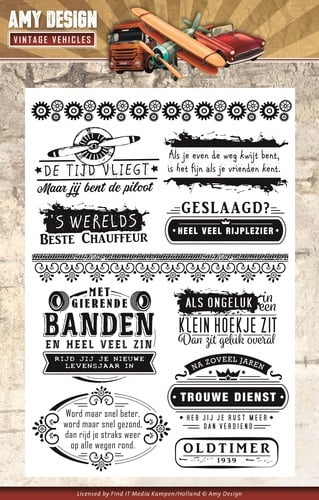 clear stamp vintage vehicles  nederlandse teksten ADCS10013