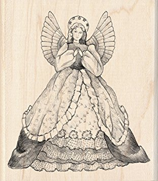 inkadinkado wood mounted rubber stamp angel  60-00334