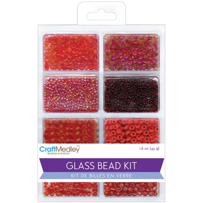 Craft medley Glass bead kit 45 gram  BD705H Rouge