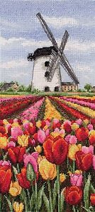 coats counted cross borduurpakket Dutch tulips landscape 32x14 cm PCE0806
