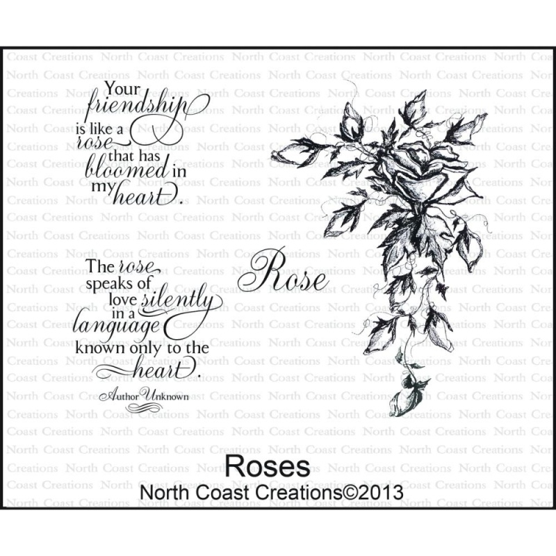 """North Coast Creations Cling Rubber Stamp 5""""X6.75"""" Roses NCC35"""