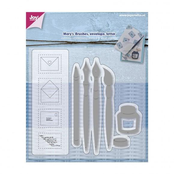 Joy!Crafts snij- embosstencil + stempel penseel pen envelop  Artikelnummer: 6004-0012