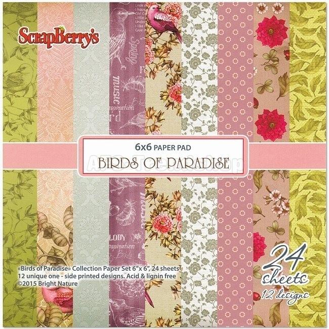 ScrapBerry's Birds of paradise paperpad 15x15 cm, 24 enkel bedrukte vellen