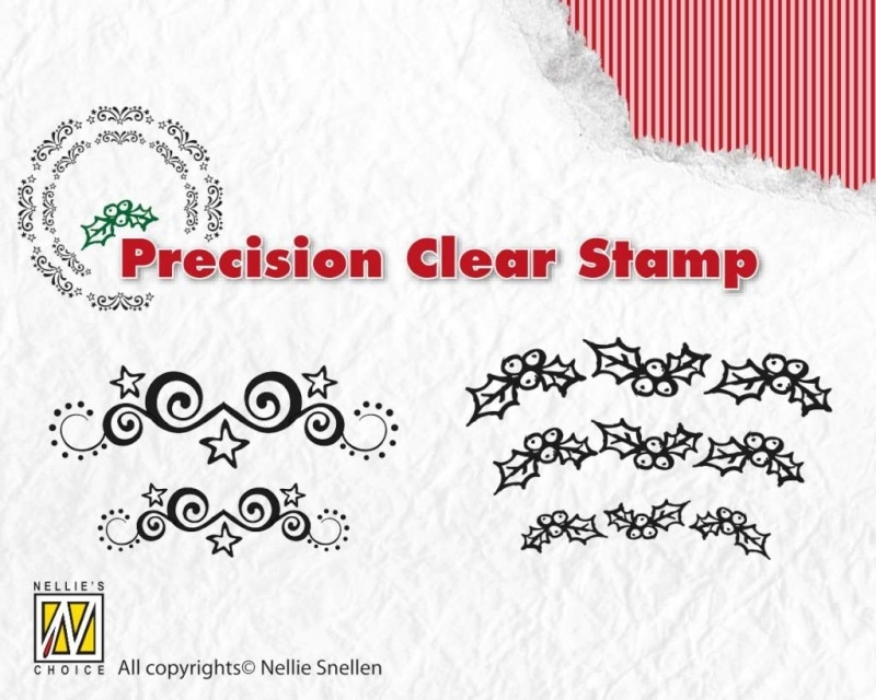Nellie`s Choice Xmas precision clearstamp Starswirls-holly APST018