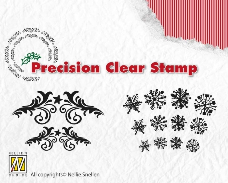 Nellie`s Choice Xmas precision clearstamp Flowersw-snowflake APST017