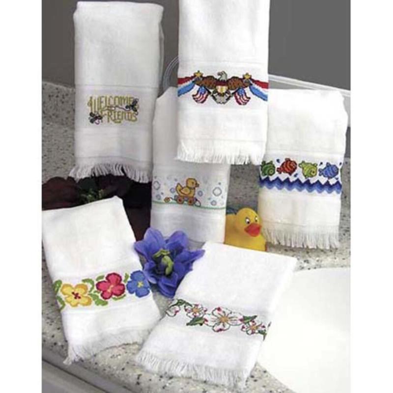 """Maxton Velour Guest Towel 14 Count 12""""X19.5"""" voorste patroon met roosjes"""