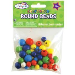 craftwood round beads gekleurd 50 stuks 10mm - 16mm  CW331