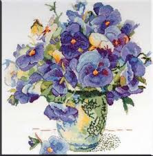 "Design Works counted cross borduur pakket 2771 "" Pansy Floral"" 14""x 14""/ ca 35 x 35 cm"