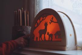 Hertjes in het bos silhouet
