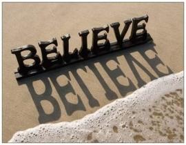 Believe:  belijdenis of doop, + gedicht