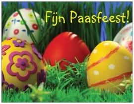 Fijn Paasfeest! met gedicht, bewerkte eieren