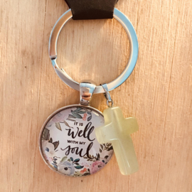 Ronde sleutelhanger met kruisje 'It is well with my soul'