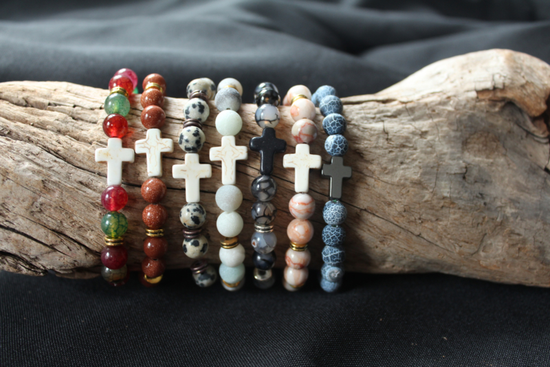 'Parel'armband met kruis