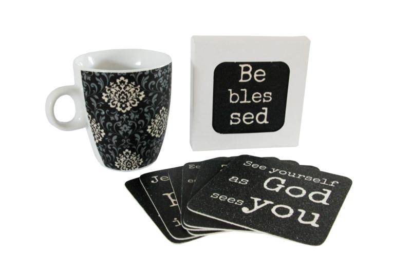 10 verschillende onderzetters in doosje, serie Be blessed