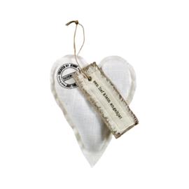 Wit linnen hart `Een lief klein engeltje`