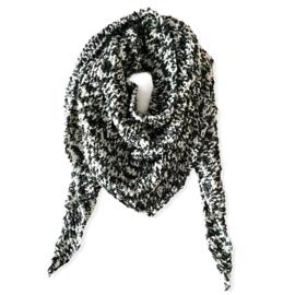 Gebreide omslagdoek zwart -wit