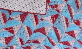 Boxkleed quilt aqua- rood