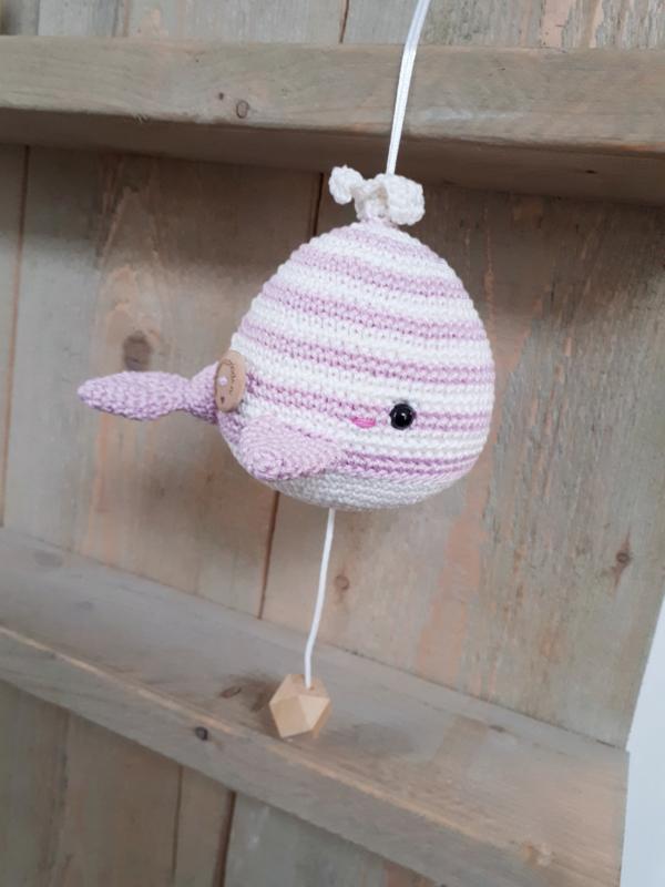 Muziekdoosje walvis roze streep