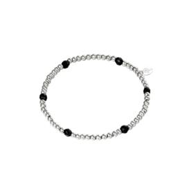 Kralen armband zwart - zilver