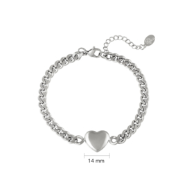 Armband chain heart - zilver