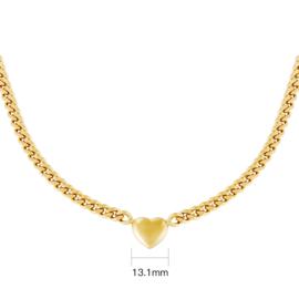 Ketting  chain heart - goud