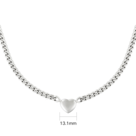 Ketting  chain heart - zilver