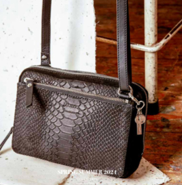 Crossbody tas Sugar Snake Silver - Black