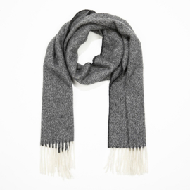 Ierse Wollen sjaal Grey Black Herringbone