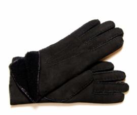 Lammy lederen vingerhandschoenen Zwart