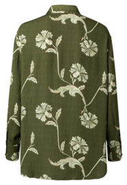 Printed fabric mix blouse